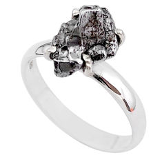 5.38cts natural grey campo del cielo (meteorite) 925 silver ring size 9 t2083