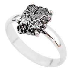 5.03cts natural grey campo del cielo (meteorite) 925 silver ring size 9 t2087
