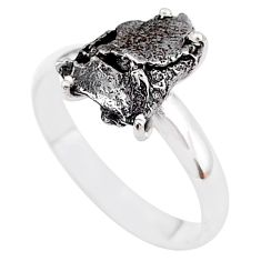 5.23cts natural grey campo del cielo (meteorite) 925 silver ring size 9 t2088