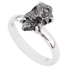 5.53cts natural grey campo del cielo (meteorite) 925 silver ring size 9 t2096