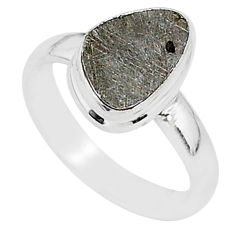 4.39cts natural grey meteorite gibeon 925 silver solitaire ring size 6.5 r95385