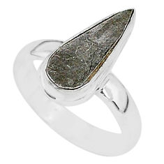 4.34cts natural grey meteorite gibeon 925 silver solitaire ring size 5.5 r95386