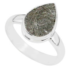 4.10cts natural grey meteorite gibeon 925 silver solitaire ring size 6.5 r95387