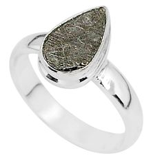 3.70cts natural grey meteorite gibeon 925 silver solitaire ring size 6.5 r95397