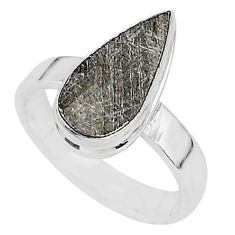 4.37cts natural grey meteorite gibeon 925 silver solitaire ring size 6.5 r95400