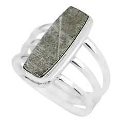 6.70cts natural grey meteorite gibeon 925 silver solitaire ring size 7.5 r95422