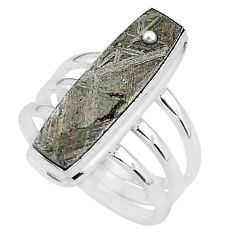 8.18cts natural grey meteorite gibeon 925 silver solitaire ring size 7.5 r95423