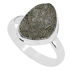 6.76cts natural grey meteorite gibeon 925 silver solitaire ring size 9.5 r95426