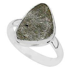 6.74cts natural grey meteorite gibeon 925 silver solitaire ring size 10 r95440