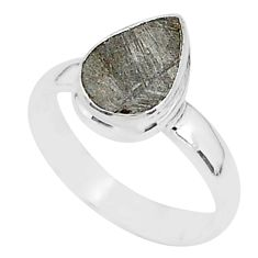 3.86cts natural grey meteorite gibeon 925 silver solitaire ring size 6 r95394