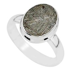 4.59cts natural grey meteorite gibeon 925 silver solitaire ring size 6 r95395