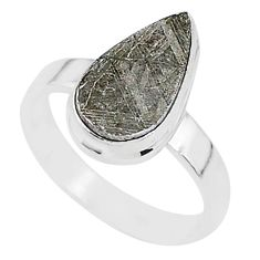 6.48cts natural grey meteorite gibeon 925 silver solitaire ring size 7 r95382
