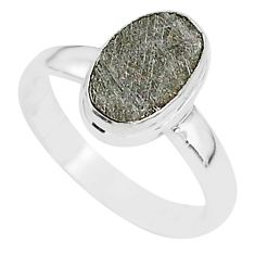 4.13cts natural grey meteorite gibeon 925 silver solitaire ring size 7 r95383