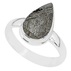 5.11cts natural grey meteorite gibeon 925 silver solitaire ring size 7 r95388