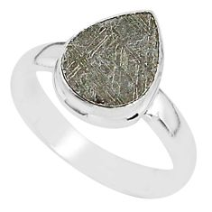 4.22cts natural grey meteorite gibeon 925 silver solitaire ring size 7 r95393