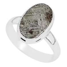5.00cts natural grey meteorite gibeon 925 silver solitaire ring size 7 r95403