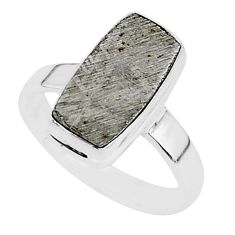 5.56cts natural grey meteorite gibeon 925 silver solitaire ring size 7 r95405
