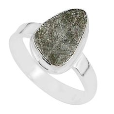 4.76cts natural grey meteorite gibeon 925 silver solitaire ring size 7 r95420