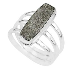 5.85cts natural grey meteorite gibeon 925 silver solitaire ring size 7 r95433