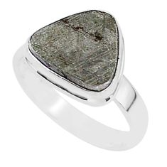 5.86cts natural grey meteorite gibeon 925 silver solitaire ring size 8 r95419