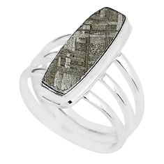 6.92cts natural grey meteorite gibeon 925 silver solitaire ring size 8 r95421