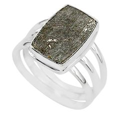 6.35cts natural grey meteorite gibeon 925 silver solitaire ring size 8 r95427