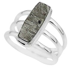 6.02cts natural grey meteorite gibeon 925 silver solitaire ring size 8 r95432