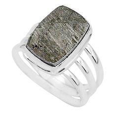 8.02cts natural grey meteorite gibeon 925 silver solitaire ring size 8 r95434