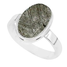 5.43cts natural grey meteorite gibeon 925 silver solitaire ring size 8 r95436