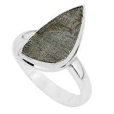 5.58cts natural grey meteorite gibeon 925 silver solitaire ring size 8 r95438