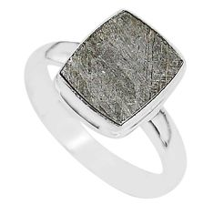 4.73cts natural grey meteorite gibeon 925 silver solitaire ring size 9 r95413