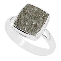 4.70cts natural grey meteorite gibeon 925 silver solitaire ring size 9 r95416