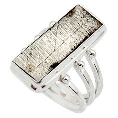 10.49cts natural grey meteorite gibeon 925 sterling silver ring size 7.5 r44434