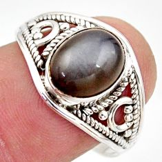 3.94cts natural grey moonstone 925 silver solitaire ring jewelry size 8.5 r35460