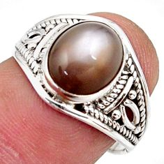 3.94cts natural grey moonstone 925 silver solitaire ring jewelry size 7 r35496
