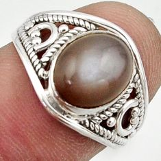 3.46cts natural grey moonstone 925 sterling silver ring jewelry size 6.5 r42753