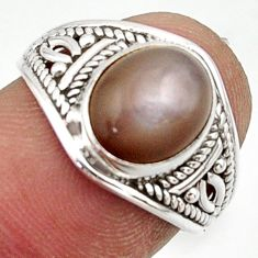 3.70cts natural grey moonstone 925 sterling silver ring jewelry size 7 r42752