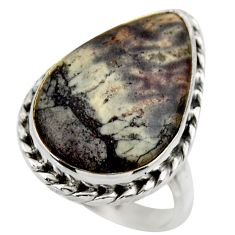 Natural grey porcelain jasper (sci fi) 925 silver solitaire ring size 8 r28621