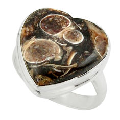 13.22cts natural h turritella fossil snail agate 925 silver ring size 6.5 r44042