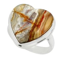 13.73cts natural heart mexican laguna lace agate 925 silver ring size 6.5 r44048