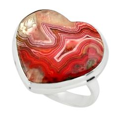 15.55cts natural heart mexican laguna lace agate 925 silver ring size 7.5 r44059