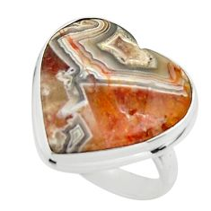 15.67cts natural heart mexican laguna lace agate 925 silver ring size 6 r44058