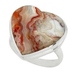 14.65cts natural heart mexican laguna lace agate 925 silver ring size 7 r44041