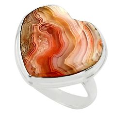 14.60cts natural heart mexican laguna lace agate 925 silver ring size 7 r44056