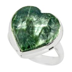 14.15cts natural heart seraphinite (russian) 925 silver ring size 6.5 r44039