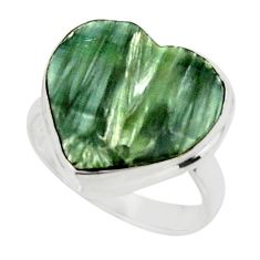 10.15cts natural heart seraphinite (russian) 925 silver ring size 6.5 r44040