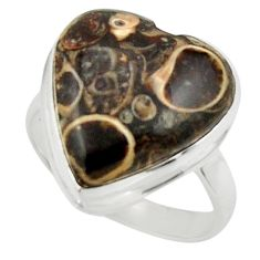 Natural heart turritella fossil snail agate 925 silver ring size 8.5 r44049