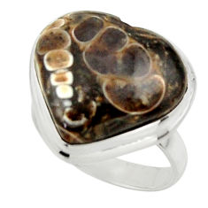 Natural heart turritella fossil snail agate 925 silver ring size 6.5 r44050