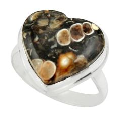 Natural heart turritella fossil snail agate 925 silver ring size 8.5 r44055