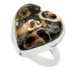 Natural heart turritella fossil snail agate 925 silver ring size 7 r44051
